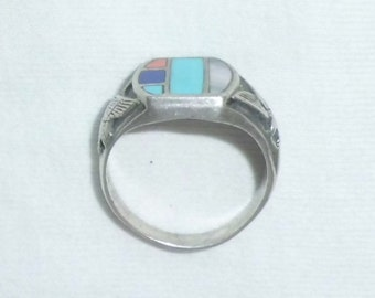 Vintage Old Pawn Southwest 925 Sterling Silver Turquoise Wide Band Ring sz 10.25 Dead Pawn Inlaid Gemstones for Man Eagle Marked