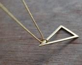 Trinagle . Geometric, minimalistic brass necklace