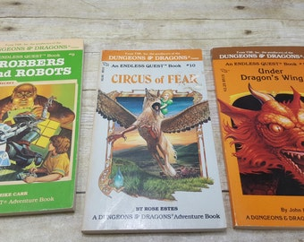Dungeons and Dragons Endless Quest, set of 3, vintage sci fi