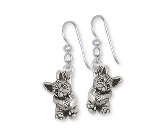 French Bulldog Earrings Handmade Sterling Silver Dog Jewelry FR24-E