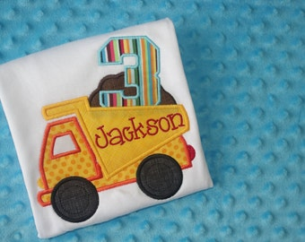 Dump Truck Birthday Shirt- Appliqued