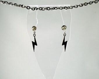 Spike Faux-Gauges, Silver Spike Earrings, Lightning Bolt Earrings