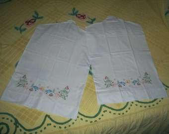 Two 2  Vintage Hand Embroidered Chic Closet Hanger Dust Dress Protector Covers Long Length