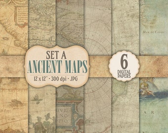 Digital Scrapbook Paper 6 Pack - Ancient Map Collection A - PERSONAL & COMMERCIAL USE