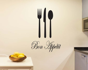 Fork Knife Spoon Wall Decal   Bon Appetit Wall Decal   Kitchen Wall Decal   Vinyl Decal   Vinyl Decor   Home Decor Wall Decal