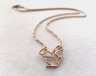 Squirrel necklace, gold squirrel necklace, geometric necklace, origami necklace, origami squirrel geometric jewellery, origami pendant