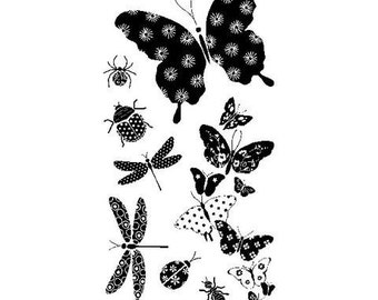 Inkadinkado Clear Acrylic Stamp Set - PATTERNED BUGS Dragon fly Butterfly bee Clear Stamp Set - new cc02