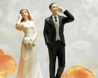 Cell Phone Wedding Cake Top Bride and Groom on Phones Topper