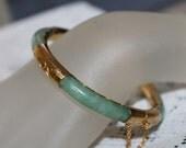 Vintage Jade Bracelet Asian Chinese Jewelry Jade Bangle Bracelet Hinged Green Chinese Asian Oriental Jade Bracelet