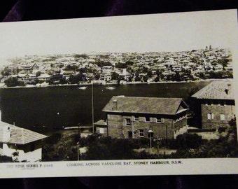 Looking Across Vaucluse Bay, Sydney Harbour NSW B&W Real Photo Rose Series Unused Postcard