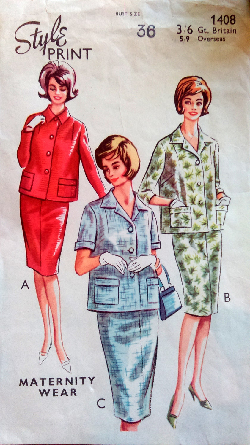 Vintage maternity sewing pattern style dress pattern 1408 60s shift dress suit pattern for women sewing sold by strawberryfvintage ombrellifo Choice Image