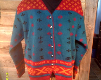 Woman's Vintage Patterned Cardigan Sweater, size Lg (10 to 14), Made in Italy by Hastings & Smith, Womens Cardigans 14, Patterned Cardigans