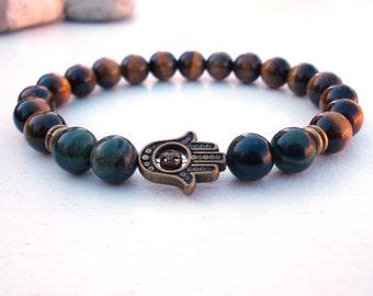 Protection Hamsa bracelet, Hamsa bracelet, Tiger Eye and Jasper bracelet, Gemstone Hamsa bracelet,Kambaba Jasper bracelet,Good Luck bracelet