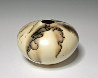 Raku/Horsehair Raku/Small White Ceramic Vessel/Handmade/OOAK/Home Decor
