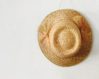 Vintage Straw Brimmed Hat / Raffia Chic / Sixties 1960s 60s / Size O/S