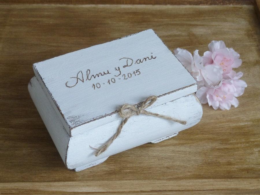 Shabby Chic Pillow Boxes : Ring Bearer Box Shabby Chic Rustic Wedding Decor Ring Bearer