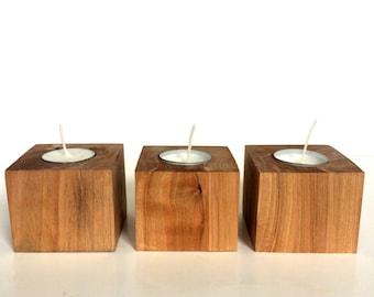 Natural Wood Block Tealight Holders
