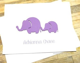 Personalized Stationery - Elephant Cards - Kids Cards - Personalized Baby Shower Thank You Card Set - 3D Elephants - Purple Elephants