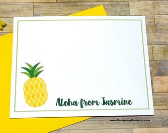 Pineapple Note Cards - Personalized Thank You Cards - Pineapple Stationery - Stationary - Kids Stationery - Cards DM229