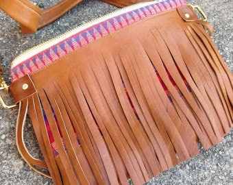 Bohemian Leather Fringe Crossbody, perfect for fall