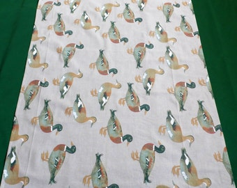 Vintage linen printed tablecloth duck pattern table cloth with ducks