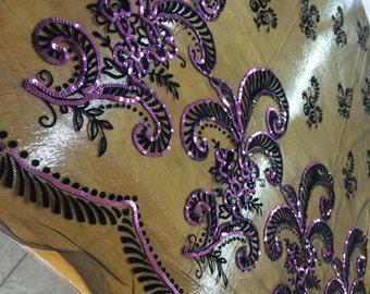 Black Velvet inlaid on Black Cotton Net withfuchsia sequin