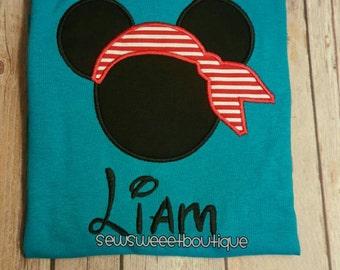 Pirate mickey head tshirt, Disney tshirt, boys disney, mickey mouse