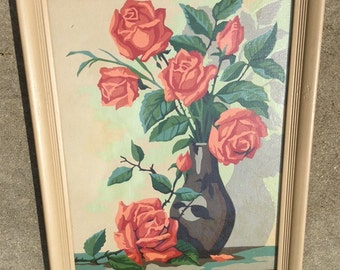 Beautiful Vintage Rose Paint by Number ~ QUALITY!