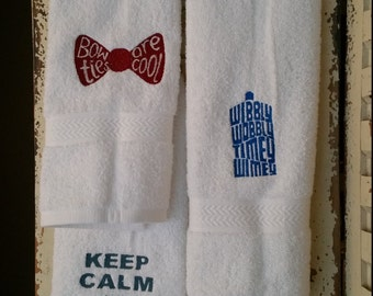Doctor Who Inspired Hand Towels