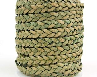 Desert Green Natural Dye Flat Braided Leather Cord 5mm 1 Yard