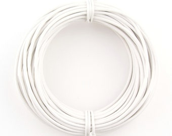White Round Leather Cord 1.5mm, 100 meters (109 yards)