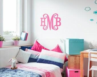 Wood monogram classic wooden monogram preppy girls room nursery monogram vine monogram