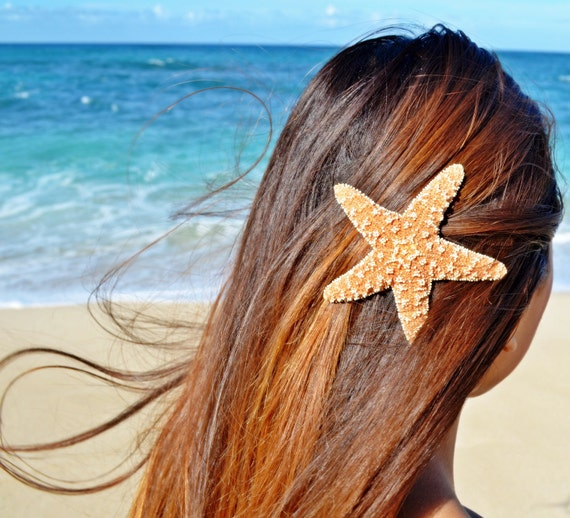 1 Large Starfish Mermaid Hair Clip/Barrette. - Nautical Bridal Accessories, Ariel Mermaid Hair Clip, Starfish Hair Accessories, Summer Hair