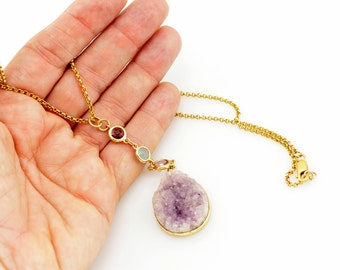 14k Gold Filled long chain Necklace with a big Raw Amethyst gemstone - Birthday gift idea