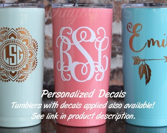 Mandala Monogram Decal / Vine Monogram Decal / Name and Feather Decal / Yeti Decal / SIC Decal / 20 ounce decal