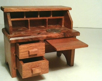 miniatures dollhouse furniture. handmade wooden dollhouse furniture desk drawers pull out opens vintage solid natural finish wood small miniature miniatures r
