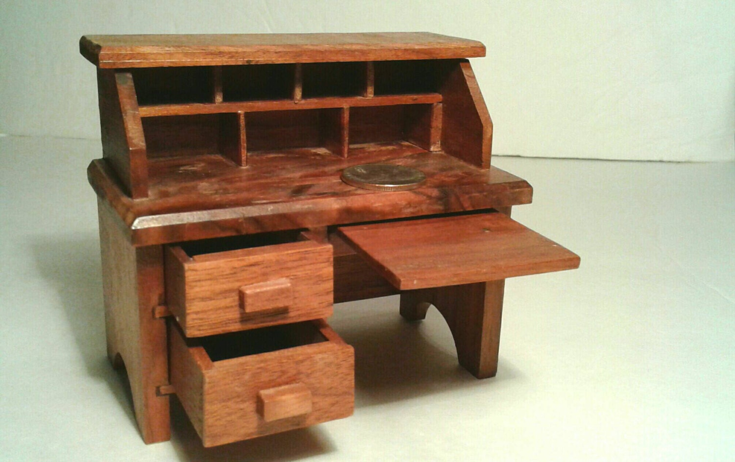Handmade wooden dollhouse furniture desk drawers pull out Unique wooden furniture