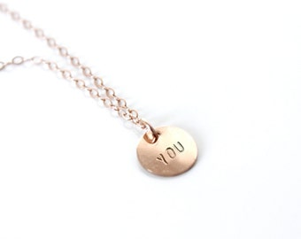 Personalized Rose Gold Necklace Dot necklace Initial necklace, personalized necklace Hand stamped necklace Rose Gold necklace Handstamped