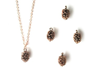 Rose gold pine cone necklace Rose Pinecone Necklace Pink gold pinecone winter necklace Forest necklace Woodland necklace Rose Gold Filled
