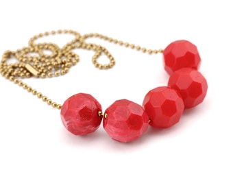 Ruby Red Ripple Resin Bead Necklace. Faceted Geometric Handmade Beads. Metal Ball Chain. One of a Kind. Handcrafted in Australia