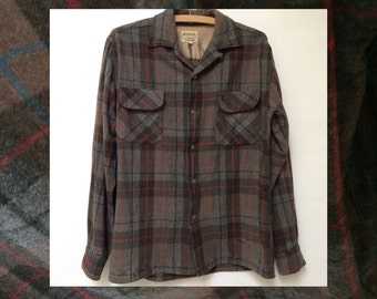 Vintage wool shirt 60s plaid brown S
