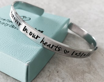 Sale forever in our hearts personalized cuff bracelet remembrance jewelry pregnancy loss monogrammed hand stamped custom jewelry