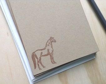 vintage inspired flat note card set, horse stationery set, kraft, set of 10, a6
