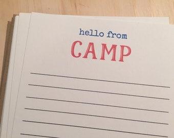 kids camp stationery, vintage inspired flat note cards and envelopes, set of 10