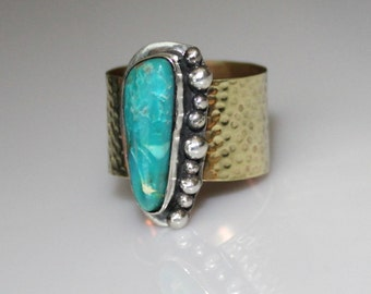 turquoise ring - boho turquoise ring - silver and brass ring - blue turquoise ring - artisan turquoise ring - mixed metal turquoise ring