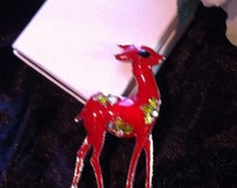 Large brooch red enamel bambi fawn artisan feature pin animal christmas jewellery gift brooches xmas