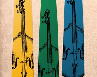 Double Bass - Music Jazz Band Play - Screen Printed Mens Necktie