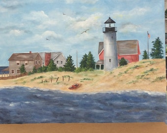 New England Lighthouse Painting 11x 14