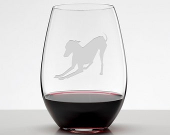 Italian Greyhound Wine Glass, Italian Greyhound Glass, Iggy Etched Stemless Wineglass
