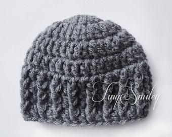 Graphite Gray Chunky Baby Boy Hat, Gray Newborn Baby Hat, Crochet Photo Props, Winter Baby Hats, Hats for Boys, Newborn Chunky Hat